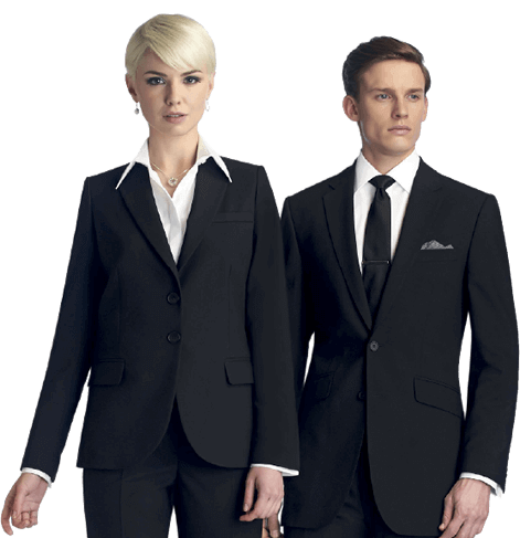 corporate clothing: man and woman wearing black suits and white shirts