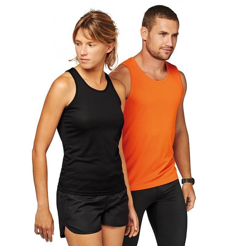 men's and women's corporate sportswear: black and orange sports clothing