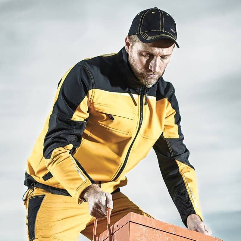 workwear jacket and trousers, black and yellow, worn by man